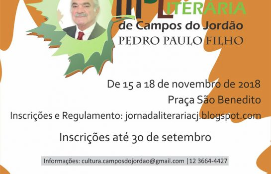 Jornada Literária – Pedro Paulo Filho está com as inscrições abertas