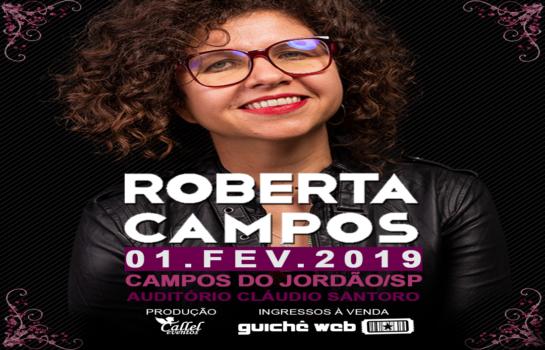Cantora Roberta Campos apresenta show no Auditório em Campos do Jordão